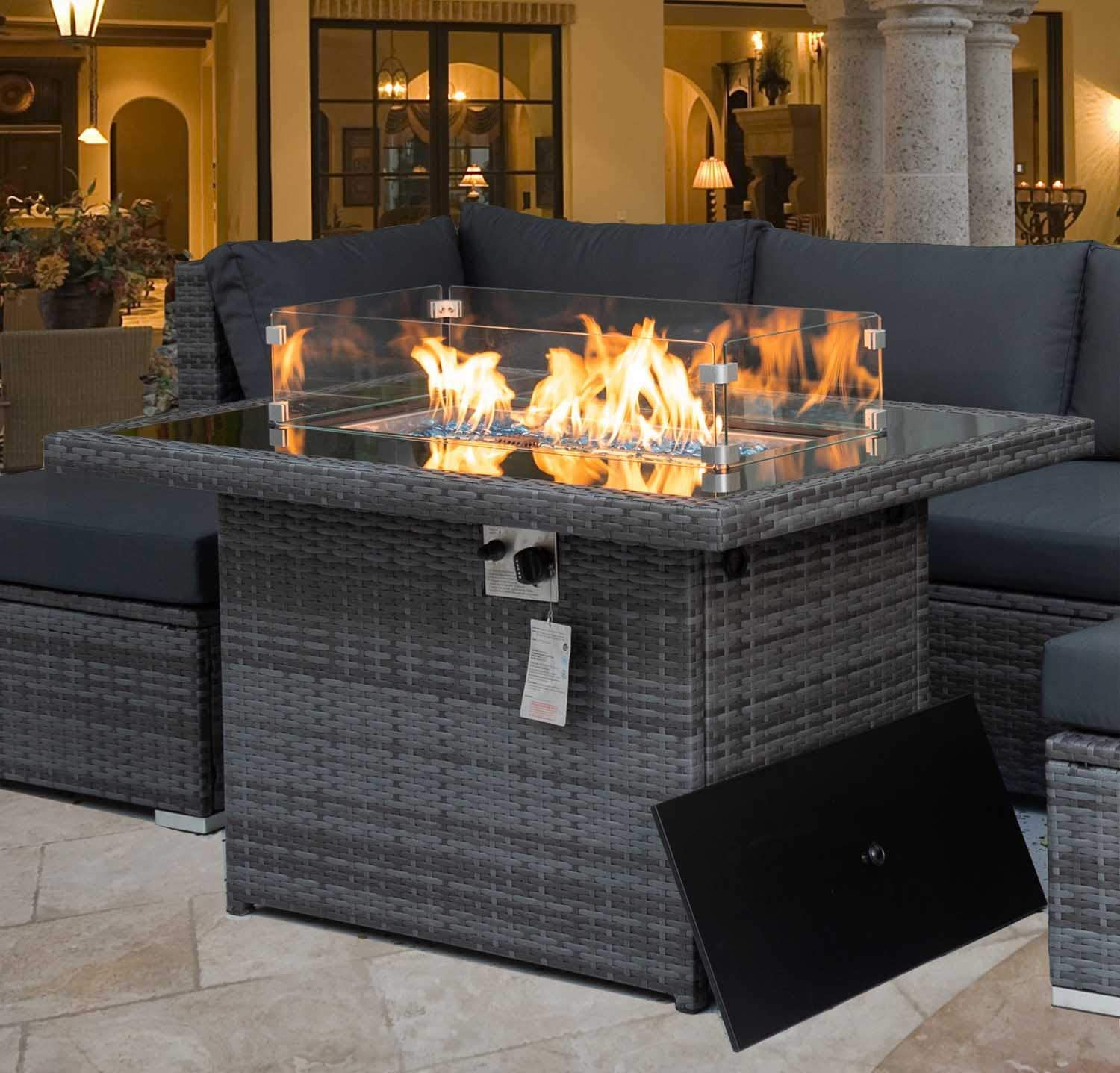 nicesoul 43 outdoor patio propane fire pit table gray pe wicker 55 000 btu auto ignition doube pipes firepits 8mm tempered glass tabletop blue