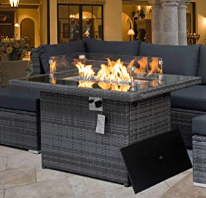 NICESOUL 43'' Outdoor Patio Propane Fire Pit Table Gray PE Wicker 55,000 BTU Auto-Ignition Doube Pipes Firepits 8mm Tempered Glass Tabletop & Blue Stone,CSA Certification (Wind Glass+Table Cover)