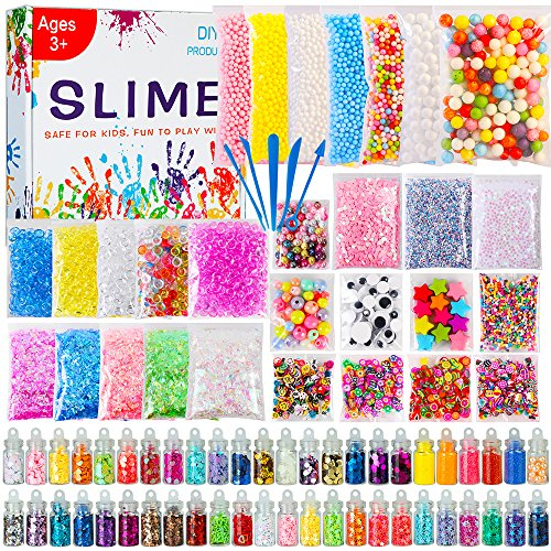 POLMMYS Slime Supplies - 82 Pack DIY Slime Kit, Include Floam Beads, Fishbowl Beads, Glitter Jars, Googly Eyes, Colorful Shells, Pearls and Sprinkled for Soft Clay Fluffy Slime Making by POLMMYS