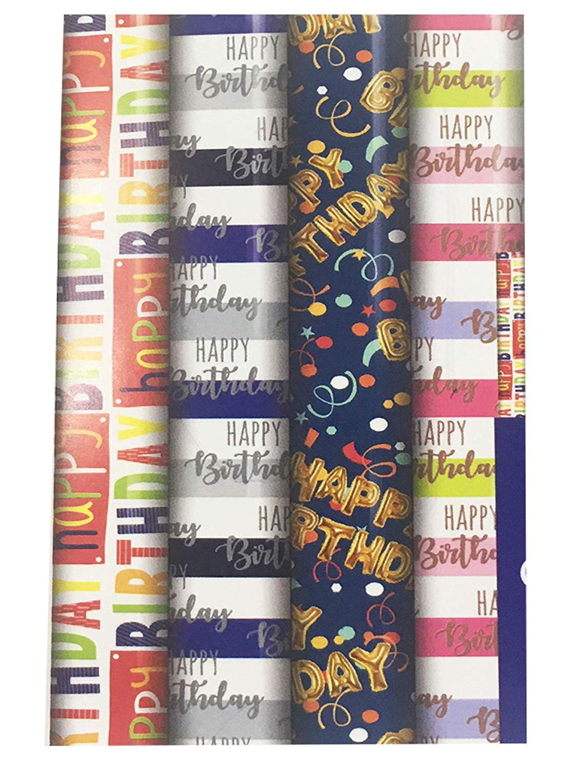 4 x Rolls Of Gift Wrap Wrapping Paper 3M x 70cm Happy Birthday