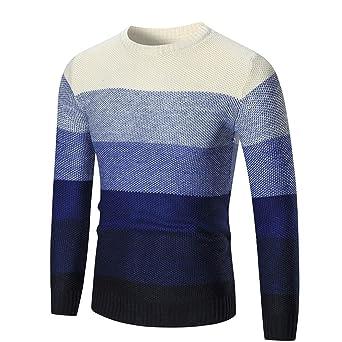 a807afa50 Suéter de hombre Otoño invierno Jersey Slim Tops Prendas de punto de hombre  Abrigo de hombre LMMVP (L, Armada)