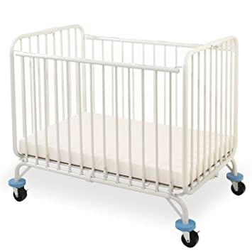 Ordinaire L.A. Baby Deluxe Holiday Folding Metal Crib, White