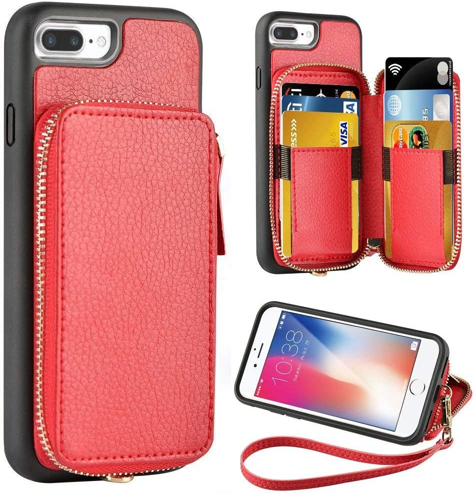 iPhone 8 Plus Wallet Case,iPhone 7 Plus Wallet Case,5.5 inch,iPhone 7 Plus 8 Plus Case with Credit Card Holder Slot Zipper Wallet Pocket Purse,Protective Cover for Apple iPhone 8 Plus/7 Plus - Red