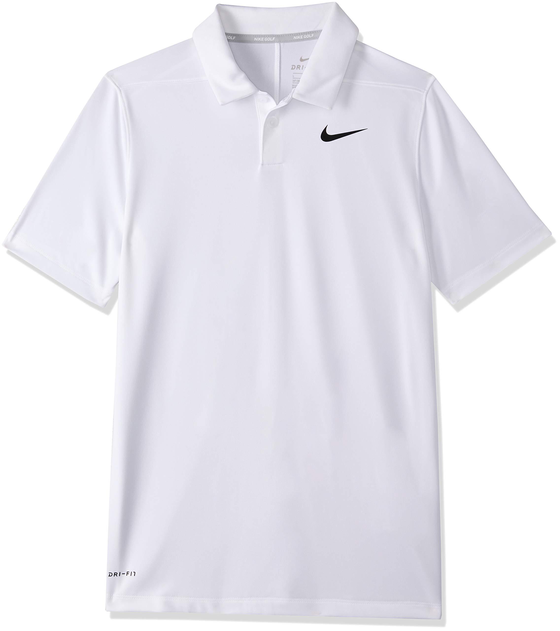 Nike Dri Fit Victory Golf Polo 2019 Boys White/Black Youth X-Large