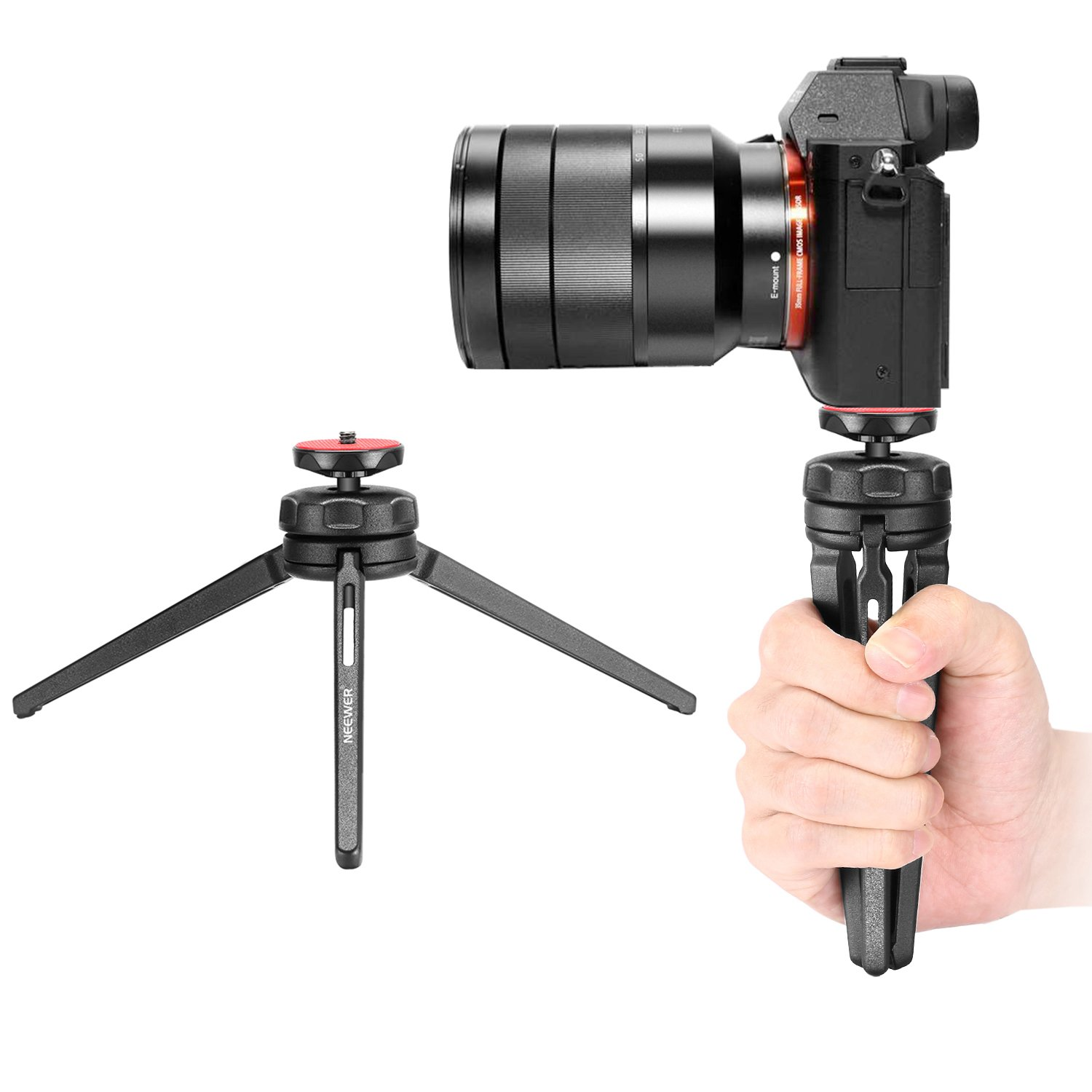 Neewer Mini Tabletop Tripod Stabilizer Grip, Lightweight Portable Aluminum Alloy Stand with Swivel Ball Head for DSLR Cameras, Smartphones, Video Camcorders up to 6.6 pounds/3 kilograms (Black) 10090546