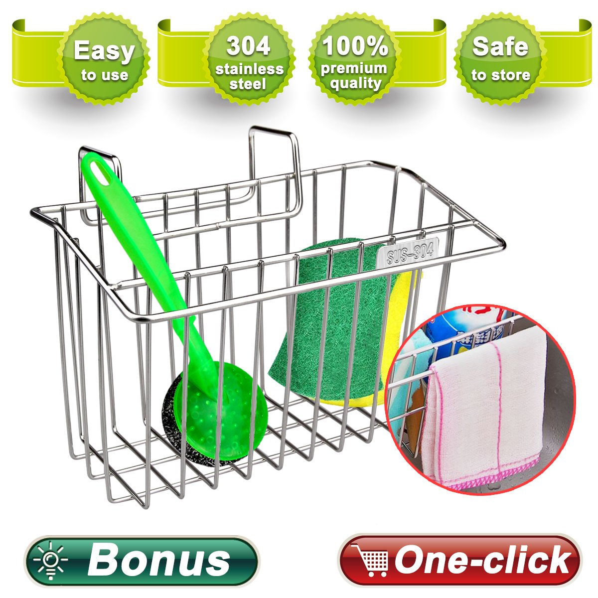Zolove 2nd generation Sponge Holder, Upgrade Stainless Steel Sink Caddy Dishwashing Liquid Drainer Rack Sink Organizer for Brush Soap Towel and Sink Supplies with extra Bonus-A Sponge and A Scrubber. by Zolove