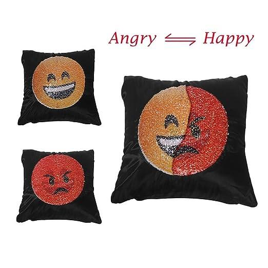 HMILYDYK Emoji funda de almohada reversible lentejuelas ...