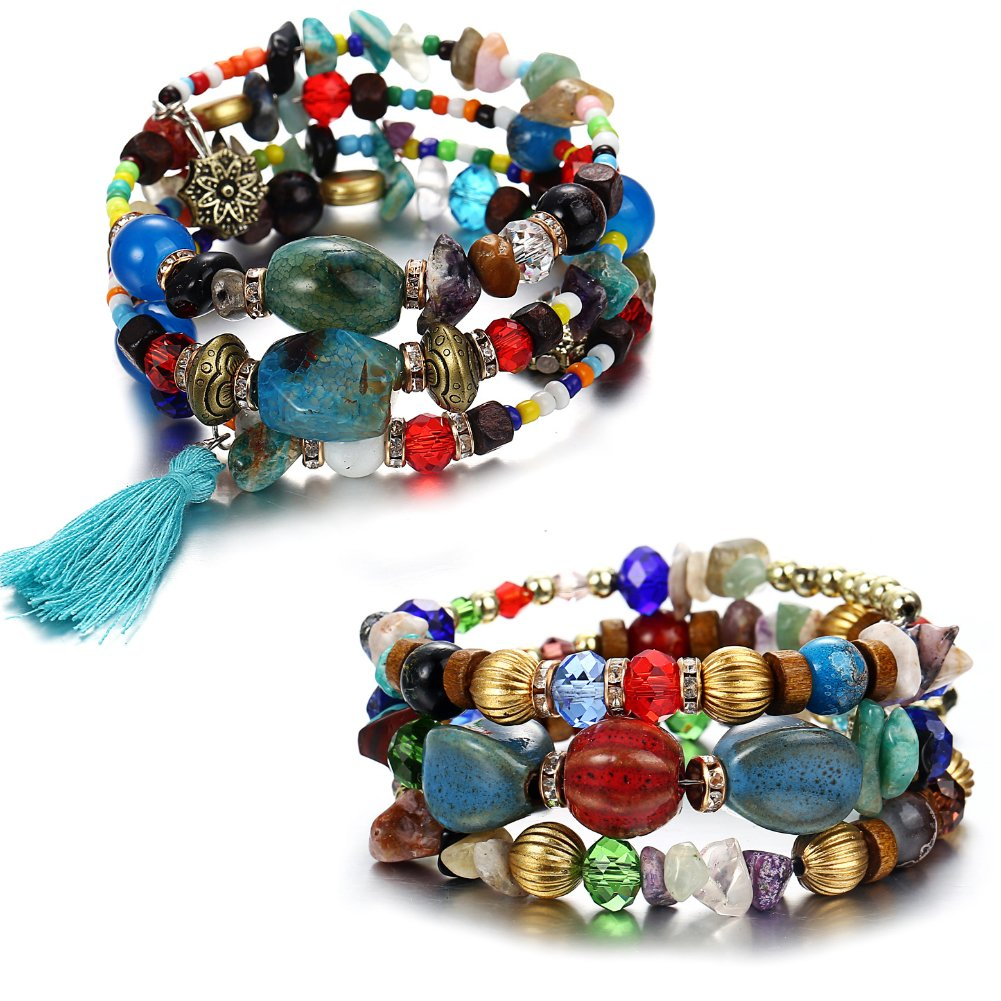 ISAACSONG.DESIGN Bohemian Multilayer Healing Stone Crystal Beads Charm Tribal Wrap Bangle Bracelet for Women (2 Pcs Colorful Beaded) by ISAACSONG.DESIGN (Image #1)