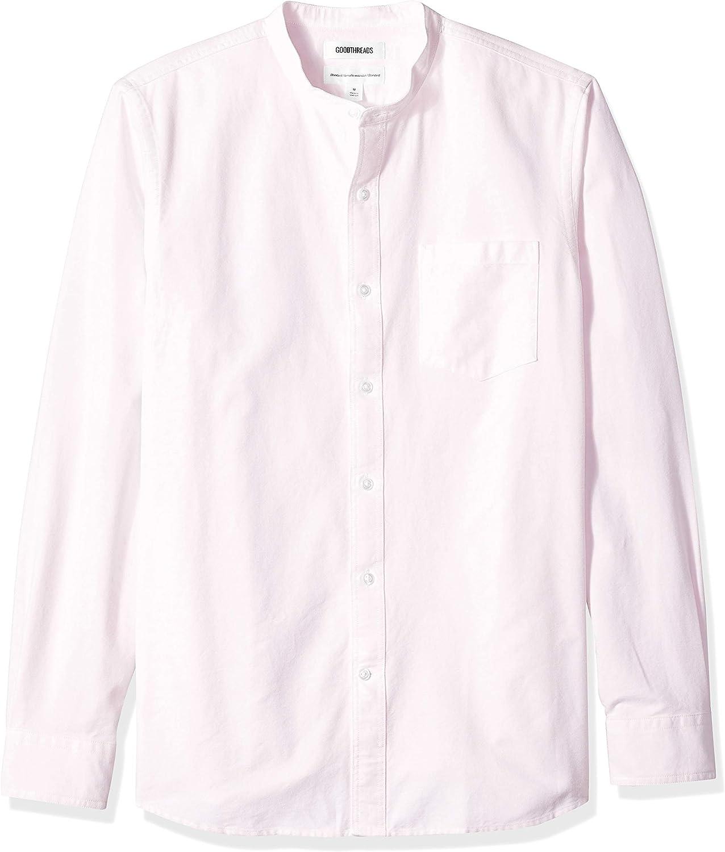 Marca Amazon - Goodthreads – Camisa Oxford de manga larga con cuello en banda de corte estándar para hombre