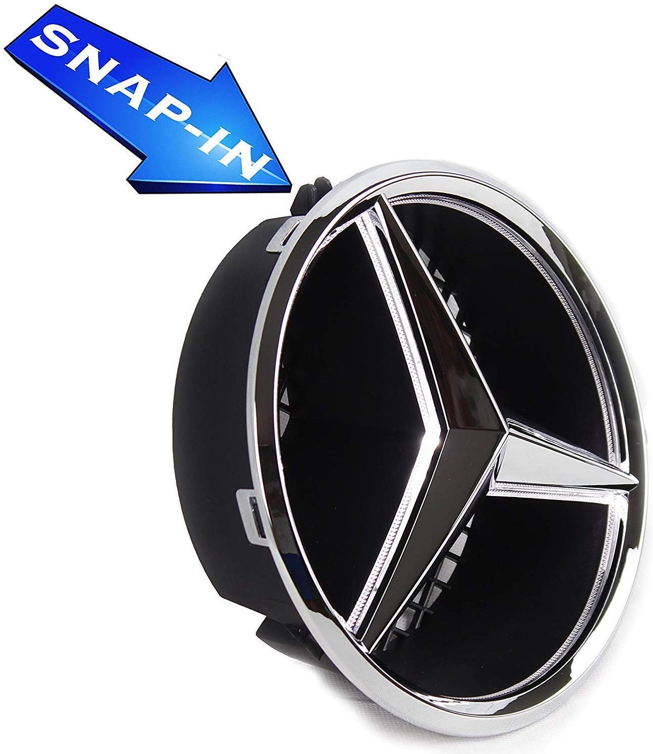 Front Car Grille Badge Illuminated Logo Hood Star DRL White Light Drive Brighter W205 C-Class, W212 E-Class, C117 CLA-Class, etc LED Emblem for Mercedes Benz 2011-2018