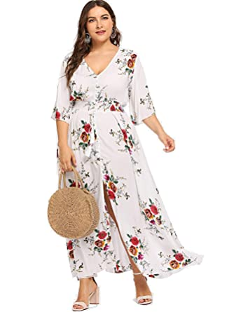 01186889dd0 Milumia Plus Size Short Sleeves Button up Dress Empire Waist Floral Print  Summer Fit Flare A