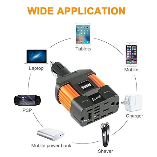 Ampeak 100W Car Power Inverter DC 12V to 110V AC Converter with 2 1A USB  Car Adapter