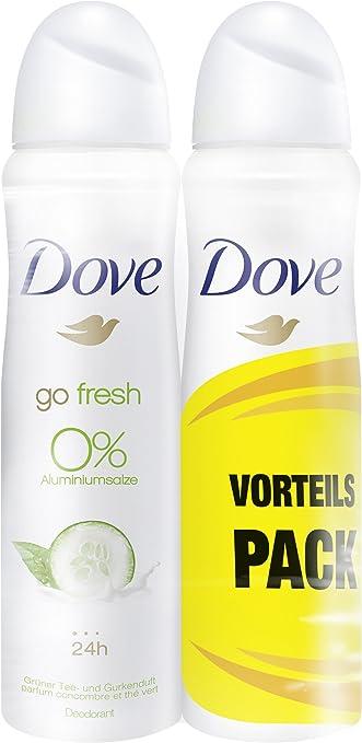 Desodorante Dove en spray de té verde y pepino, 0% de sales de ...
