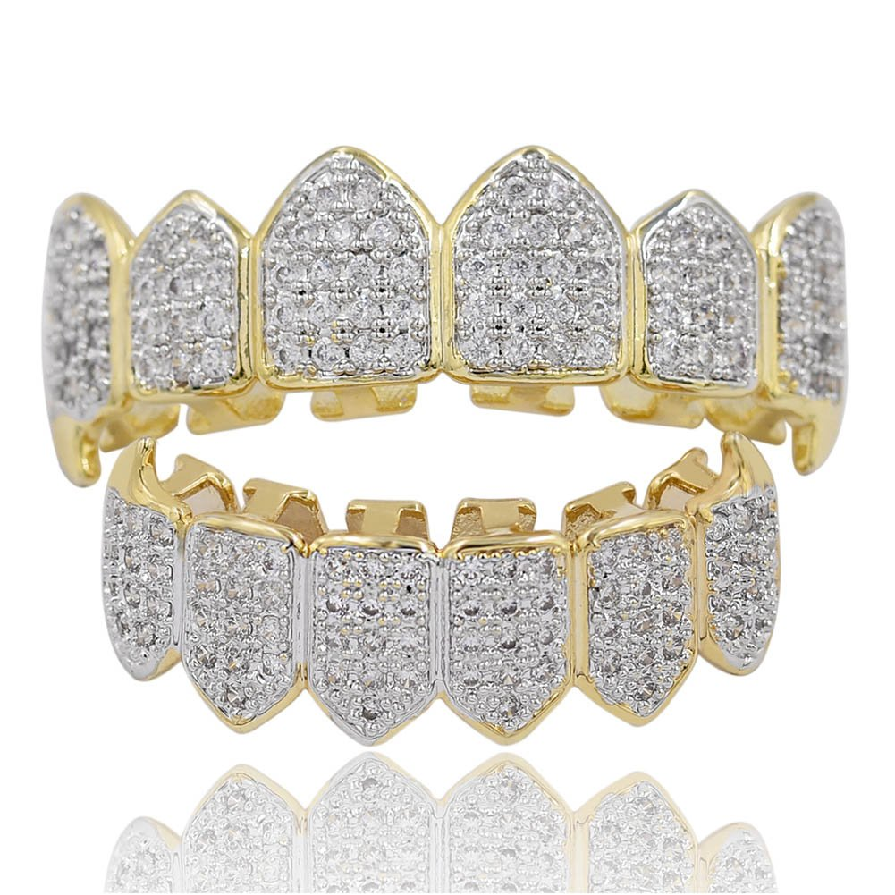 TOPGRILLZ Hip Hop 18K Gold Plated Fully Iced Out Simulated Diamond CZ Vampire Top and Bottom Grills for Your Teeth Kids with Extra Molding Bars
