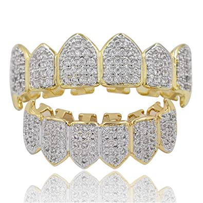 Amazon.com  TOPGRILLZ Hip Hop 18K Gold Plated Fully Iced Out ... a4cb09cdd3