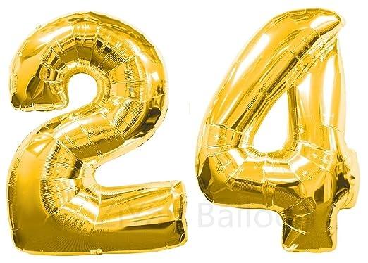 Ziyan 40 pulgadas gigante 24 oro número globos, cumpleaños ...
