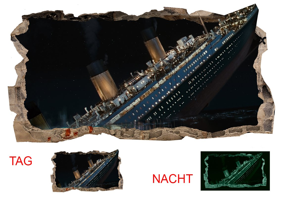 Startonight 3D Mural Wall Art Photo Decor Titanic Amazing Dual View Surprise Large Wall Mural Wallpaper for Living Room or Bedroom 120 x 220 cm