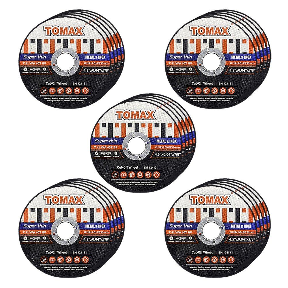 Tomax 4-1/2 Inch Premium Thin Cutoff Wheels for Metal Stainless Steel/Inox(25 Pack)