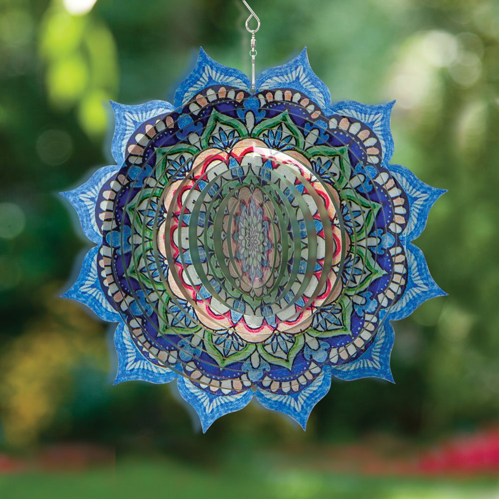 Bits and Pieces - 3D Printed Laser Wind Spinner - Laser Cut Stainless Steel Multicolor Floral Design Whirligig - Outdoor Décor Wind Ornament