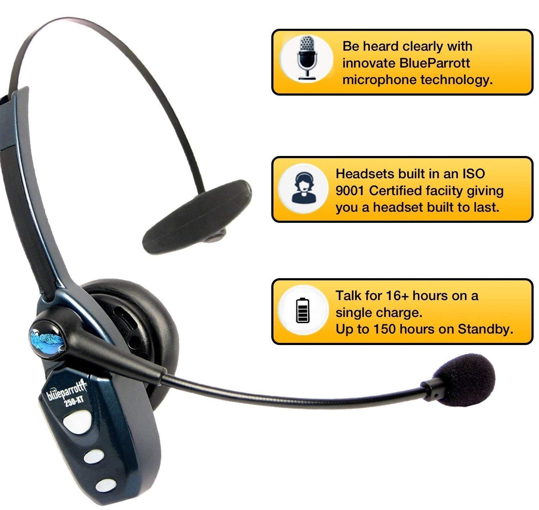 BlueParrott B250-XT Bluetooth Headset 204123 Bundle - Includes B250-XT Trucker Bluetooth Headset w/ Bonus Mic Foam Cushions | Auriculares Bluetooth Inalambricos de Blue Parrot by Global Teck Worldwide (Image #5)