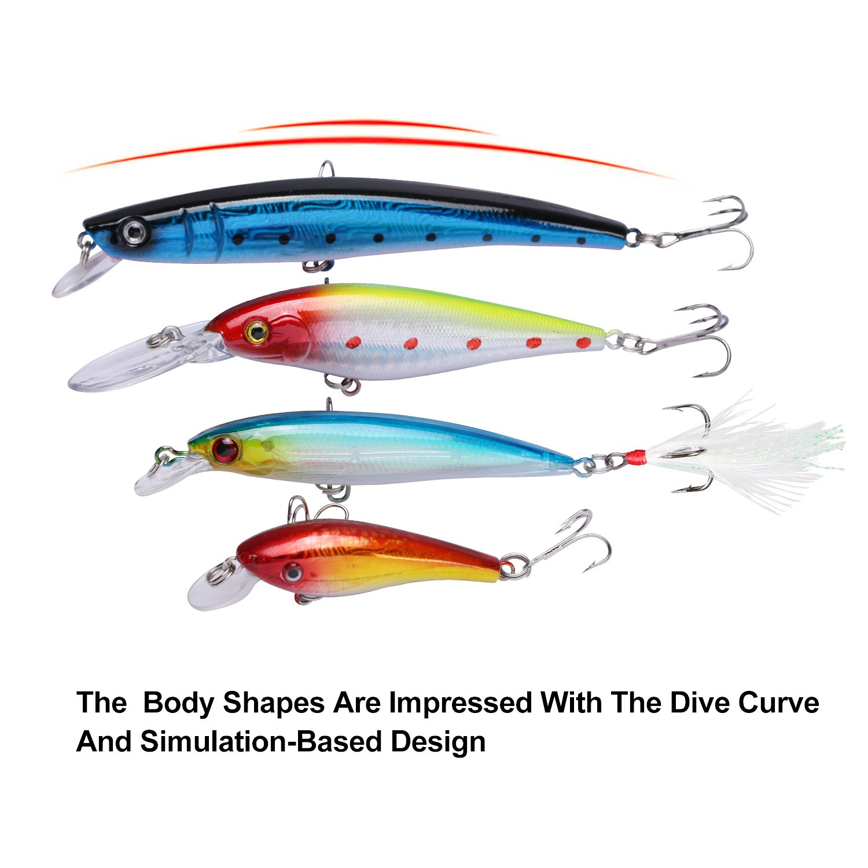 Goture 40 Pieces Crankbait Minnow Diving Fishing Lure Set Multi-color Artificial Bait with Treble hooks for Bass Trout Pike