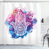Blue Pink Polyester Fabric Bathroom Shower Curtain Set with Hooks 75 Inches Long Ambesonne Ethnic Shower Curtain Decor Hamsa Hand of Fatima Good Luck Symbol Oriental Ornament Meditation