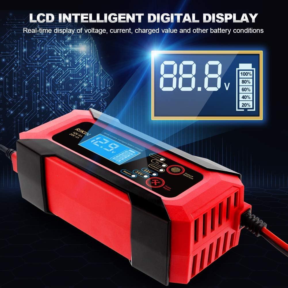 RIKIN Ladeger/ät Autobatterie 8A 12V//24V Batterieladeger/ät Vollautomatisches Intelligentes Ladeger/ät Mit LCD Bildschirm Reparaturmodus f/ür Auto und Motorrad