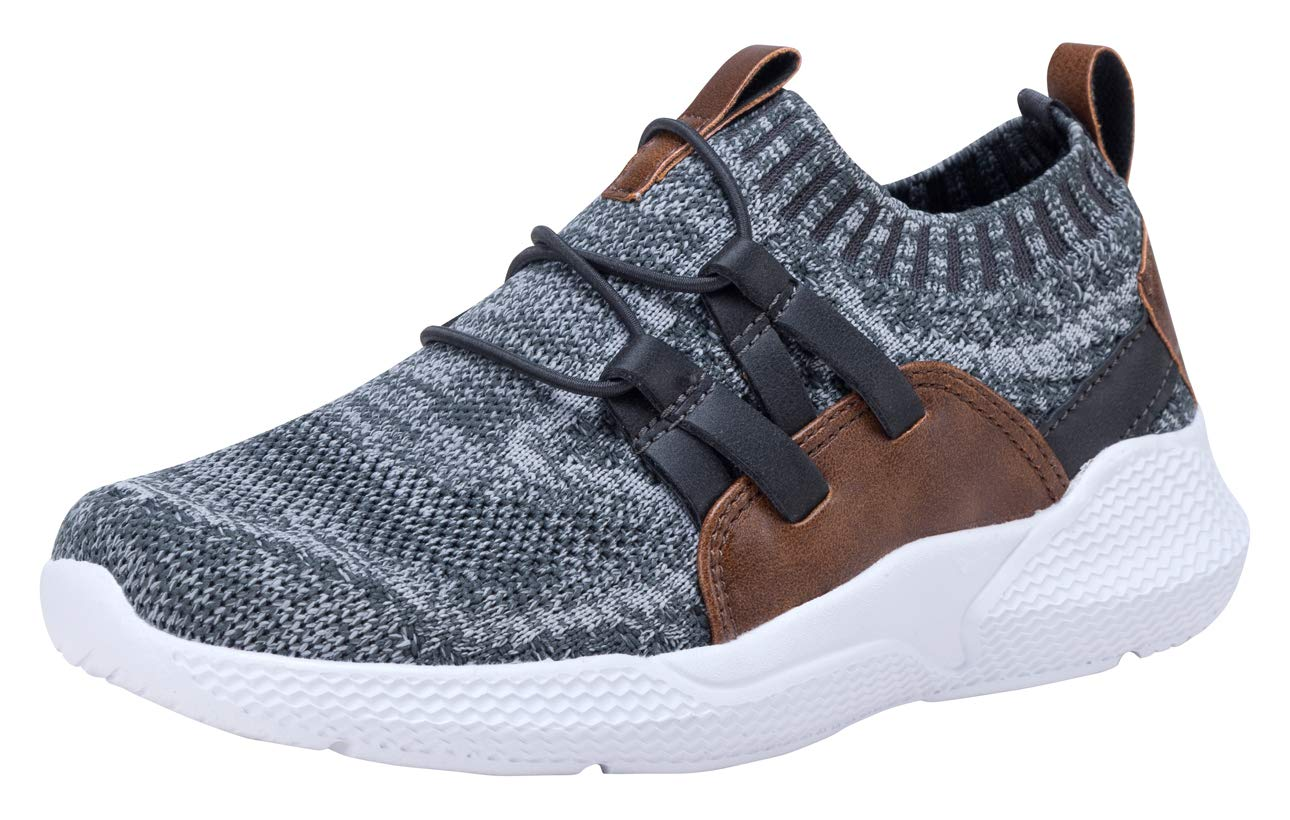 COODO Boy's Breathable Sneakers Casual Sport Shoes (13 Little Kid,Grey Brown)