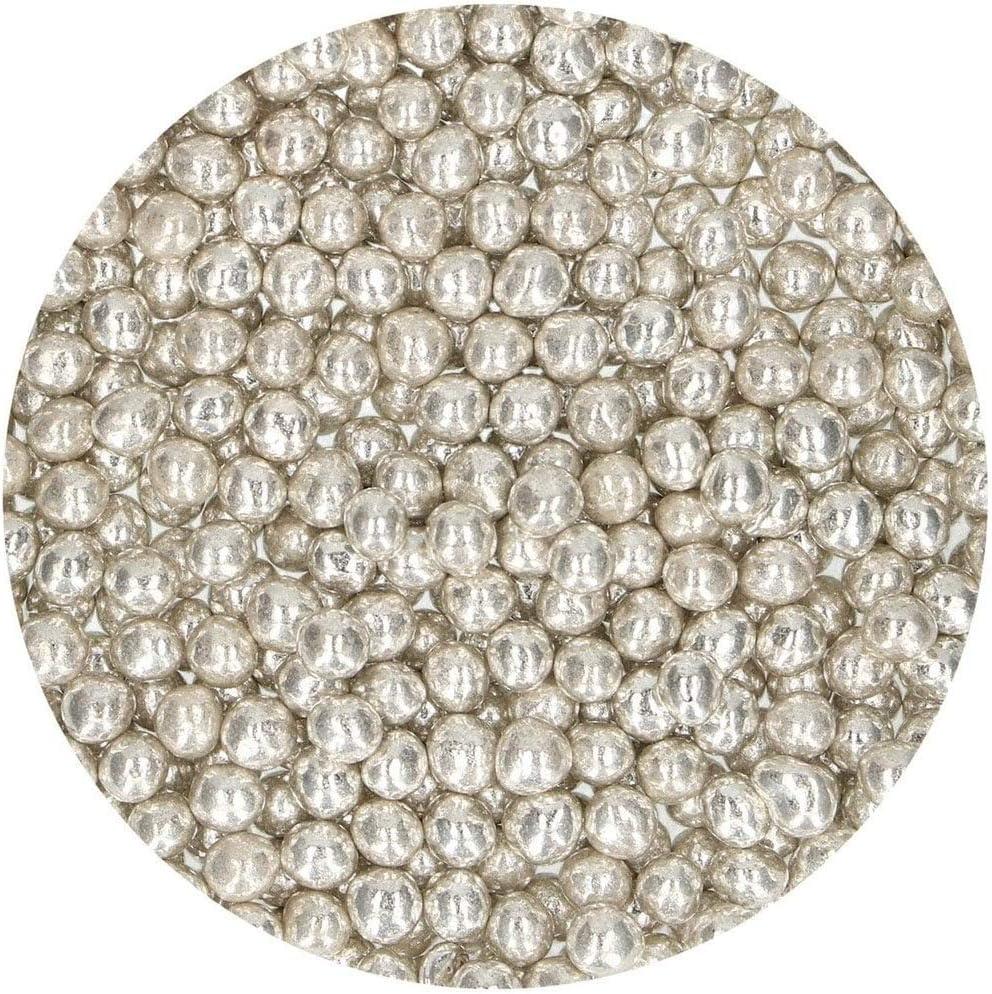 55 g Perfecto para Decorar Tartas FunCakes Perlas Blandas Plata: Sprinkles para Tartas Cientos y Miles de Sprinkles Gran Sabor
