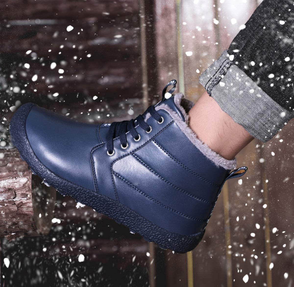 DANDANJIE Herren Schneestiefel Warme High-Top Sport Sport Sport Wanderschuhe mit Schnür-Turnschuhe Casual Outdoor-Schuhe für den Winter 4d026a