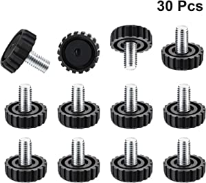 30 Packs M8 Screw on Furniture Glide Leveling Foot Adjustable Diameter Home Black Metal Table Desk Glide Leg Leveler Leveling Foot Adjuster