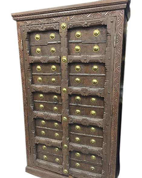 Old Door Brass Armoire Hand Carved Cabinet Patina Indian Furniture