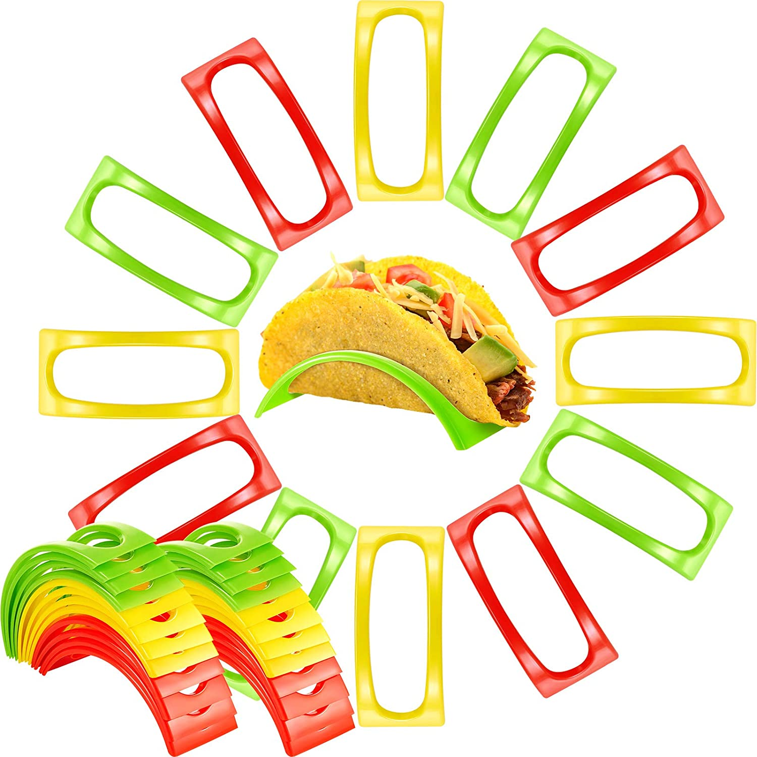 36 Pieces Taco Plastic Independent Cup Racks Set Holders Stand Tray Home Goods Taco Tray Taco Shell HolderRack TacoHolderStands forTortillasBurritosHomePartyRestaurant, Red, Yellow and Green