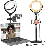 Computer Ring Light for Video Conferencing Lighting - Desk Circle Light for Laptop with Stand & Phone Holder, Selfie Ring Lig