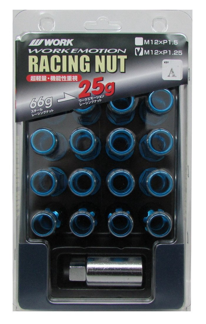 Work Long type lock nut set lightweight racing nut Blue 19HEX M12 × P1.25 total length 50mmWORKRANUT-BL125