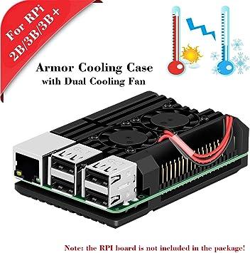 MakerHawk Raspberry Pi 2B / 3B / 3B + Armor Case, Caja de Metal con Doble Ventilador de enfriamiento, aleación de ...