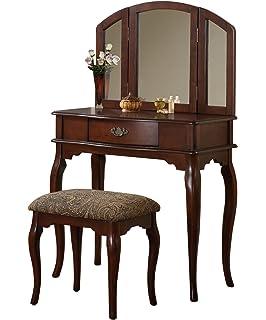 BOBKONA Jaden Collection Vanity Set With Stool, Cherry