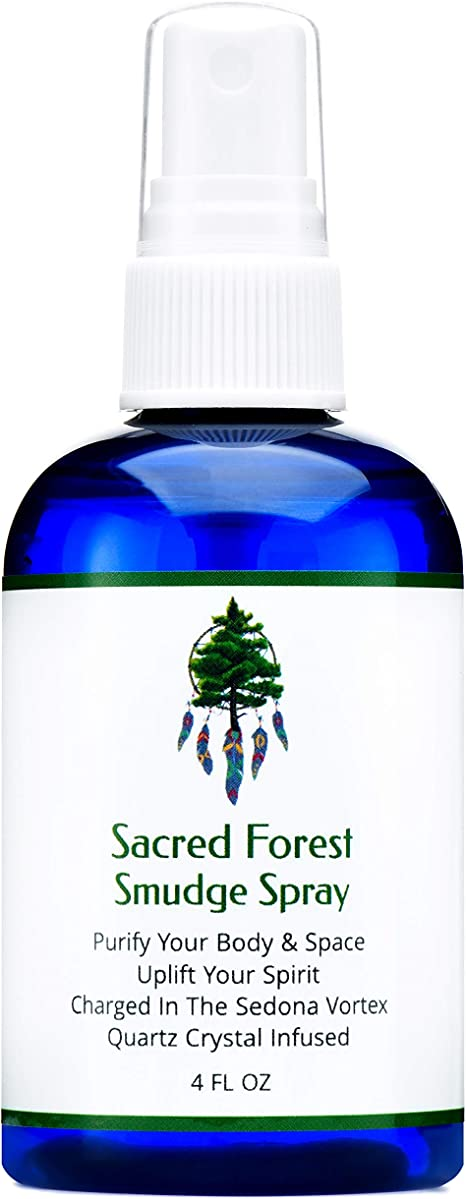 Amazon Com Sacred Forest Smudge Spray For Cleansing And Clearing Energy 4 Ounce Liquid Blend Alternative To Incense Sticks Wood Or Candles Handmade In The Usa With Pure Essential Oils And Quartz Crystals