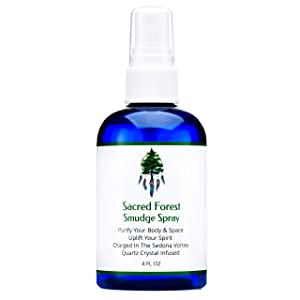 Sacred Forest Smudge Spray for Cleansing and Clearing Energy (4 Ounce) Liquid Blend Alternative to Incense, Sticks, Wood Or Candles, Handmade in The USA with Pure Essential Oils and Quartz Crystals