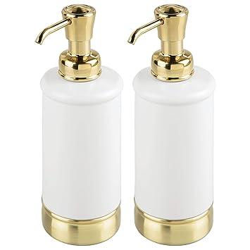 mDesign Juego de 2 dispensadores de jabón, loción o aceites – Dosificadores de jabón rellenables