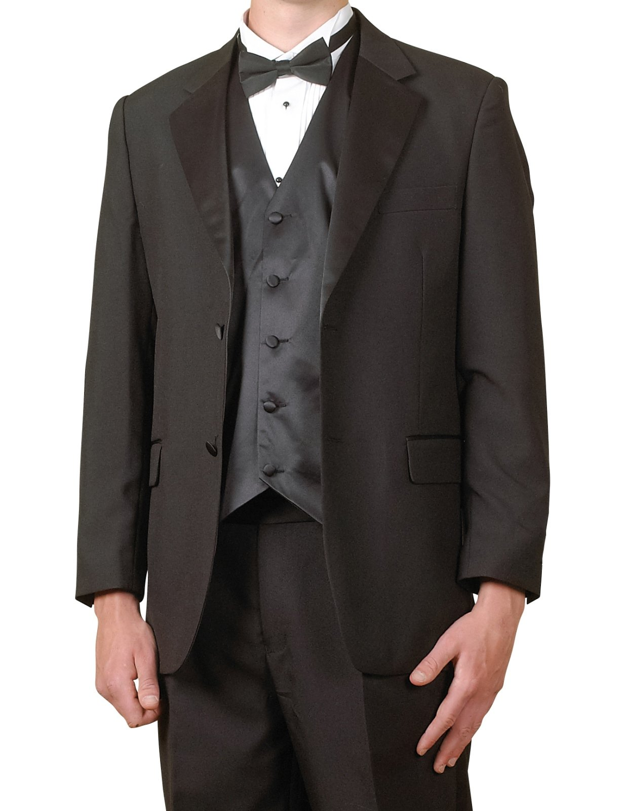 New Mens 6 Piece (6pc) Complete Black Tuxedo & Single Breasted Vest