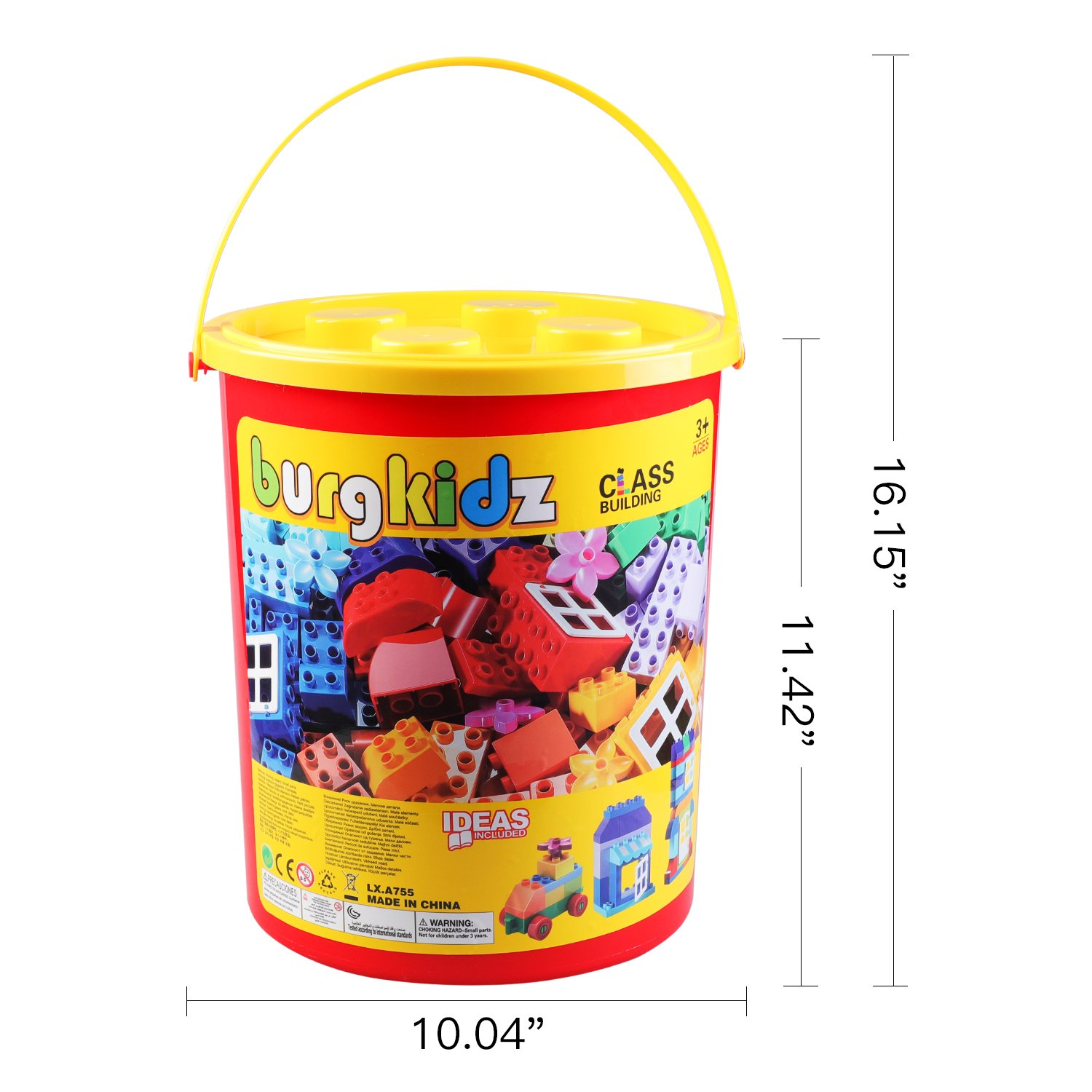 burgkidz Big Building Block Sets - 214 Pieces Toddler Educational Toy Classic Large Sizes Building Blocks Bricks - 13 Fun Shapes and Storage Bucket - Compatible with All Major Brands by burgkidz (Image #5)