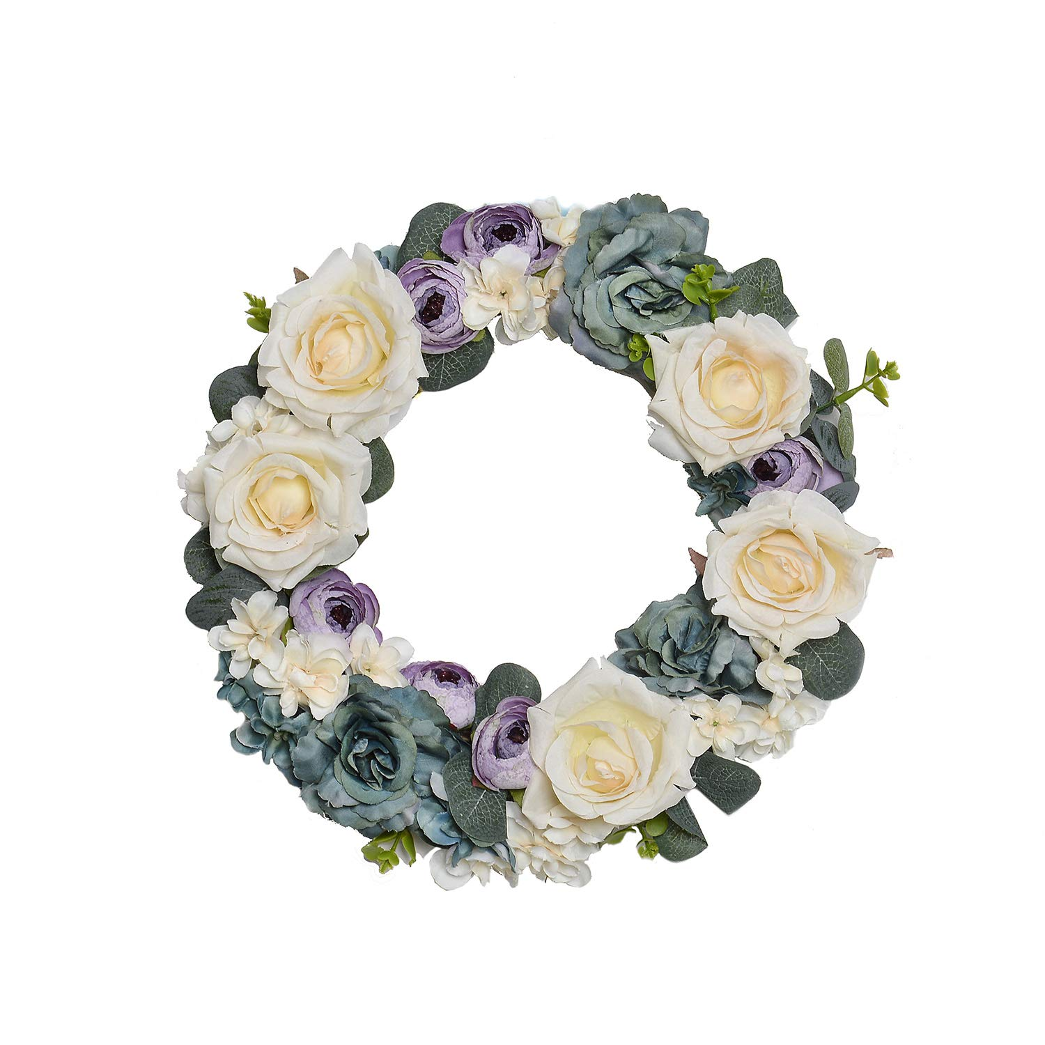 FAVOWREATH LOVE Series FAVO-W95 Handmade 11 inch White,Green Roses Purple Bud Grapevine Wreath For Summer/Fall Season Festival Celebration Front Door/Wall/Fireplace Everyday Nearly Natural Home Decor by FAVOWREATH
