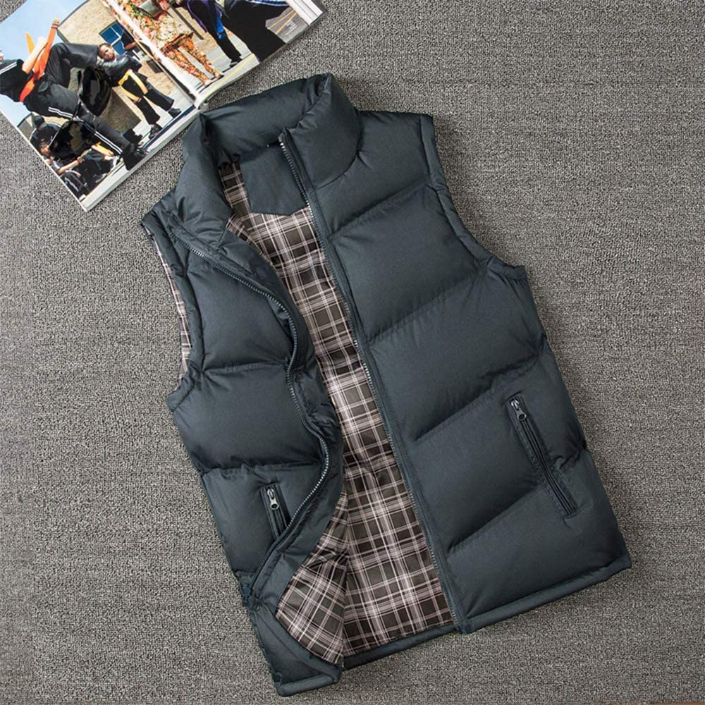 Lightweight Body Warmer Sleeveless Outdoor Zipper Stand Collar Large Size Quilted Jacket KINLOU Mens Gilets