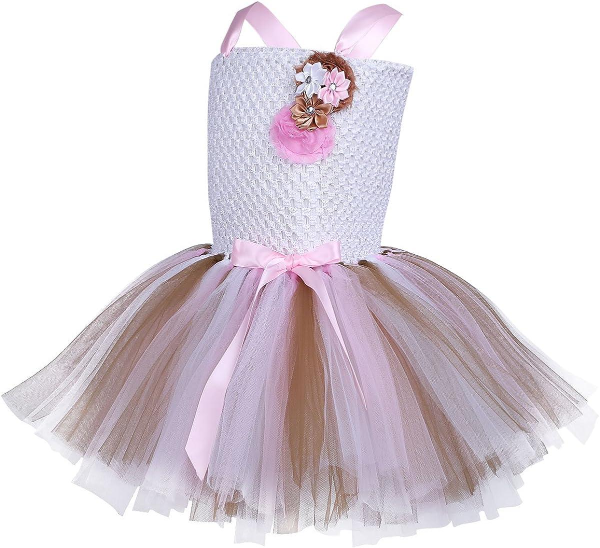 iiniim Enfant Fille D/éguisement Licorne Tutu F/ée Robe de Princesse Soir/ée et Serre-t/ête Cheveux Licorne Cosplay Costume Halloween Robe de Danse Bal Cadeau Anniversaire F/ête