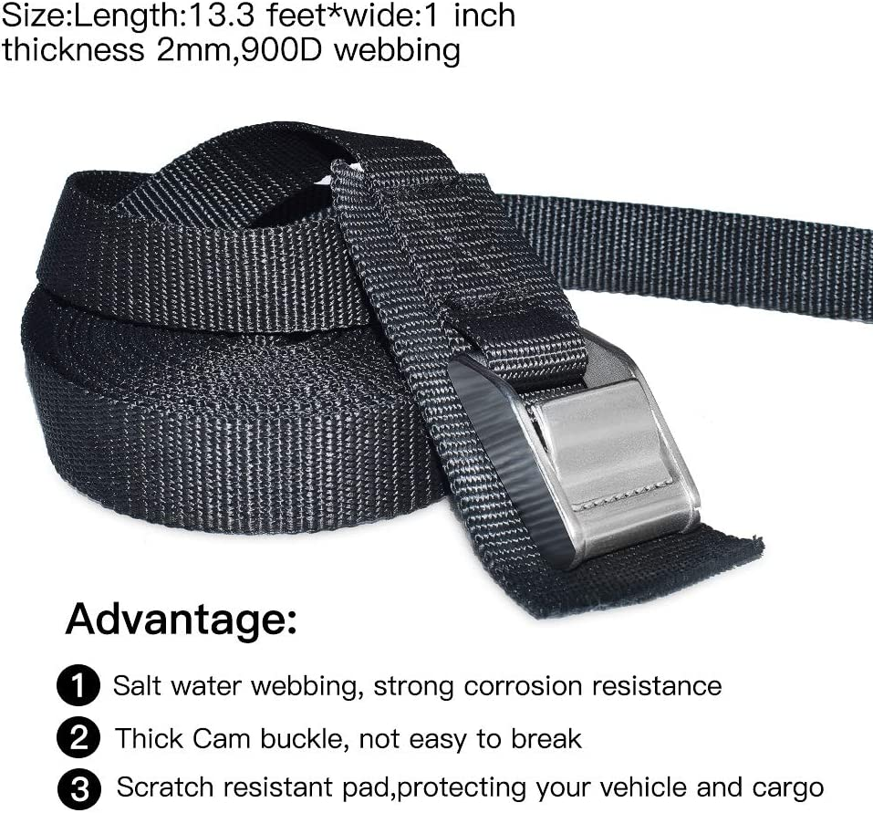 Kayak Tie-Down Straps Pack of Two 3M x 35mm Straps with Buckle Protection Pad