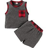 Infant Toddler Baby Boy Tank Tops Sleeveless T-Shirt Summer Short Sets Kids Plaid Stripe Pocket Clothes Sets
