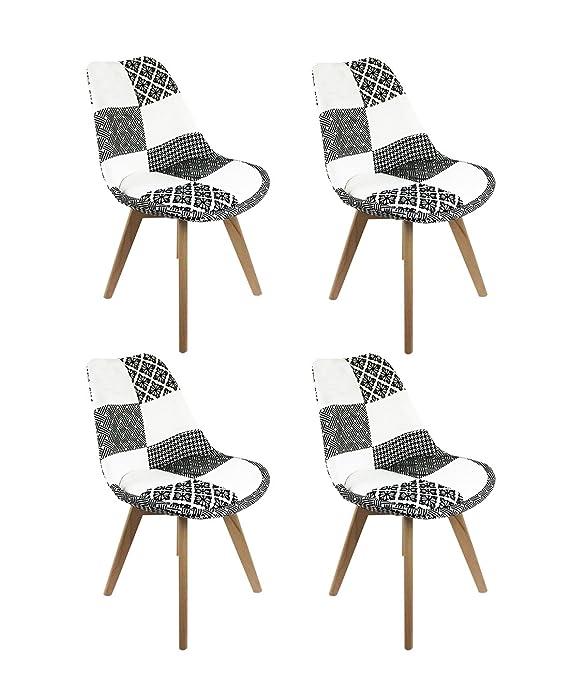 Meubletmoi - Juego de 4 sillas Patchwork Blanco y Negro ...
