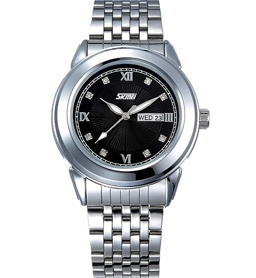 HWCOO Relojes de pulsera SKMEI reloj de cuarzo de los hombres grande de tres pines calendario de acero correa reloj retro masculino de 30 metros reloj de ...