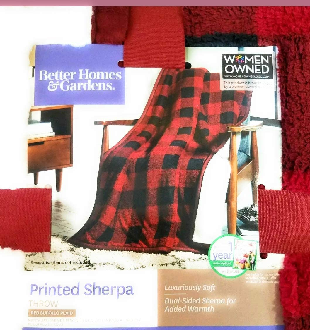 """Better Homes and Garden Sherpa Throw Red Plaid Blanket 50""""x 60"""""""